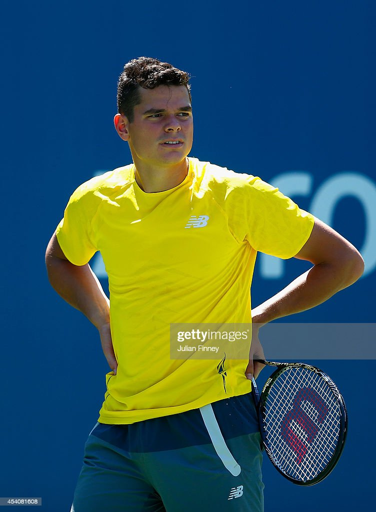 <a gi-track='captionPersonalityLinkClicked' href=/galleries/search?phrase=Milos+Raonic&family=editorial&specificpeople=5421226 ng-click='$event.stopPropagation()'>Milos Raonic</a> of Canada looks on during previews for the US Open tennis at USTA Billie Jean King National Tennis Center on August 24, 2014 in New York City.