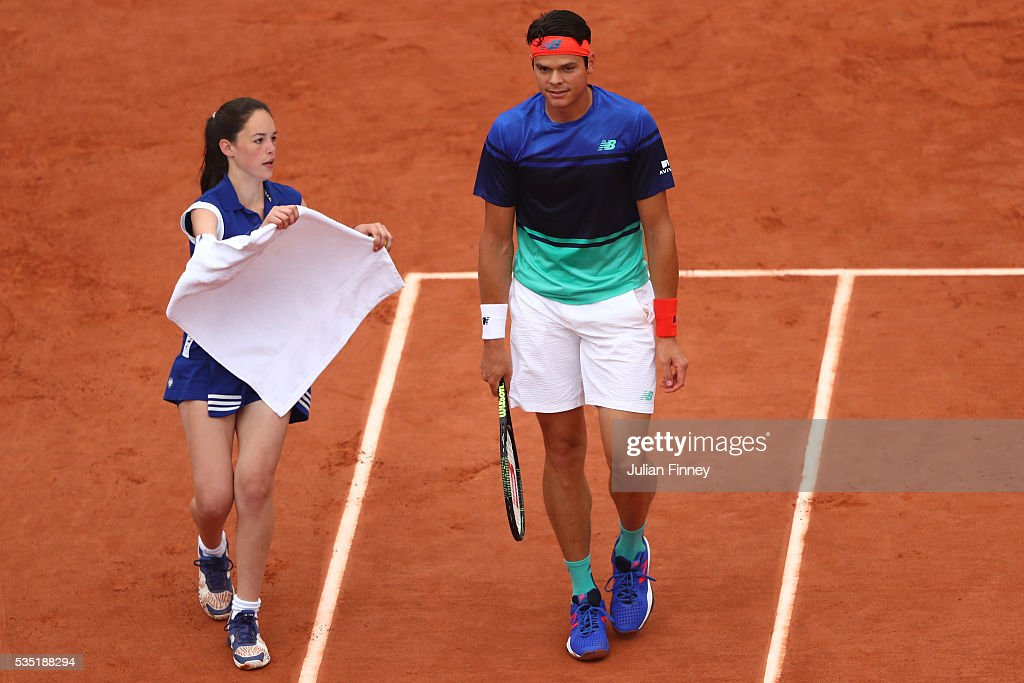<a gi-track='captionPersonalityLinkClicked' href=/galleries/search?phrase=Milos+Raonic&family=editorial&specificpeople=5421226 ng-click='$event.stopPropagation()'>Milos Raonic</a> of Canada looks on during the Men's Singles fourth round match against Alberto Ramos Vinolas of Spain on day eight of the 2016 French Open at Roland Garros on May 29, 2016 in Paris, France.