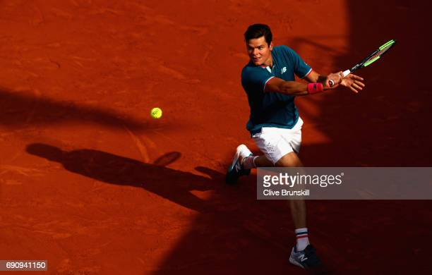 Milos Raonic of Canada plays a backhand during the mens singles second round match against Rogerio Dutra Silva of Brazil on day four of the 2017...