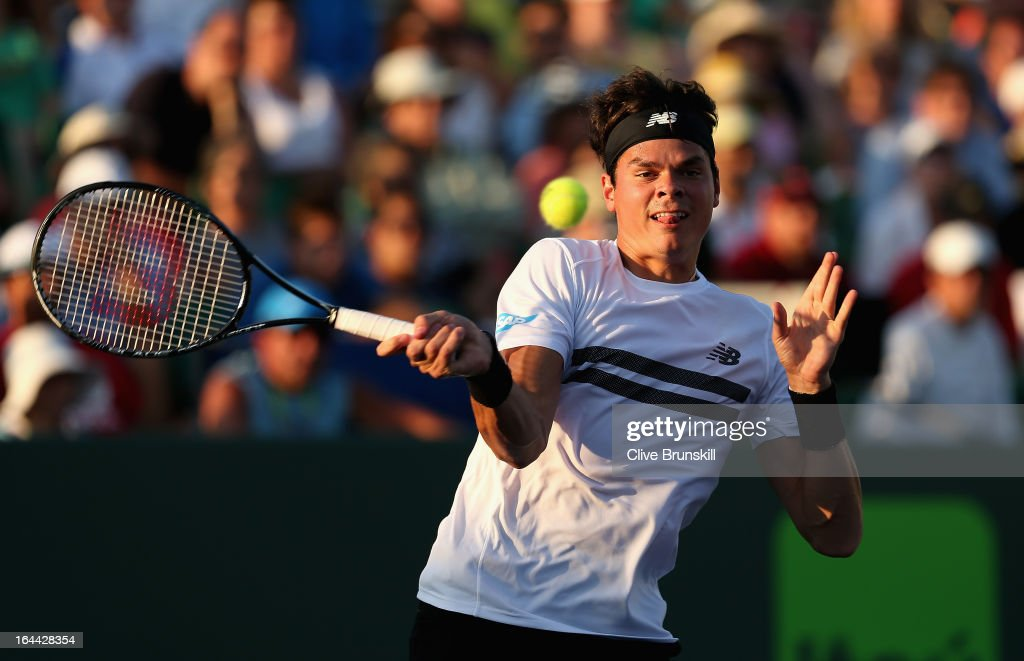 <a gi-track='captionPersonalityLinkClicked' href=/galleries/search?phrase=Milos+Raonic&family=editorial&specificpeople=5421226 ng-click='$event.stopPropagation()'>Milos Raonic</a> of Canada plays a forehand against Guillaume Rufin of France during their second round match at the Sony Open at Crandon Park Tennis Center on March 23, 2013 in Key Biscayne, Florida.