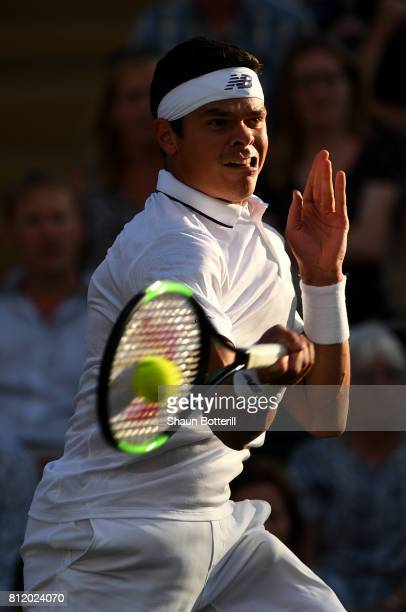 Milos Raonic of Canada plays a forehand during the Gentlemen's Singles fourth round match against Alexander Zverev of Germany on day seven of the...