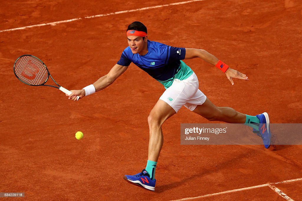 <a gi-track='captionPersonalityLinkClicked' href=/galleries/search?phrase=Milos+Raonic&family=editorial&specificpeople=5421226 ng-click='$event.stopPropagation()'>Milos Raonic</a> of Canada plays a forehand during the Men's Singles second round match against Adrian Mannarino of France on day four of the 2016 French Open at Roland Garros on May 25, 2016 in Paris, France.