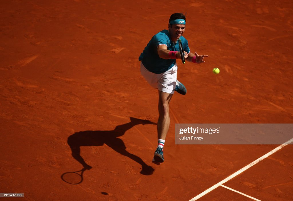 Milos Raonic of Canada plays a forehand in his match against Gilles Muller of Luxembourg during day five of the Mutua Madrid Open tennis at La Caja Magica on May 10, 2017 in Madrid, Spain.