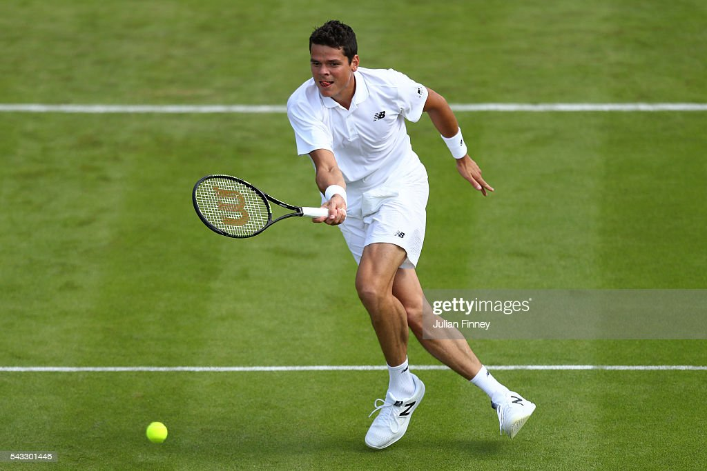 <a gi-track='captionPersonalityLinkClicked' href=/galleries/search?phrase=Milos+Raonic&family=editorial&specificpeople=5421226 ng-click='$event.stopPropagation()'>Milos Raonic</a> of Canada plays a forehand shot during the Men's Singles first round match against Pablo Carreno Busta of Spain on day one of the Wimbledon Lawn Tennis Championships at the All England Lawn Tennis and Croquet Club on June 27th, 2016 in London, England.