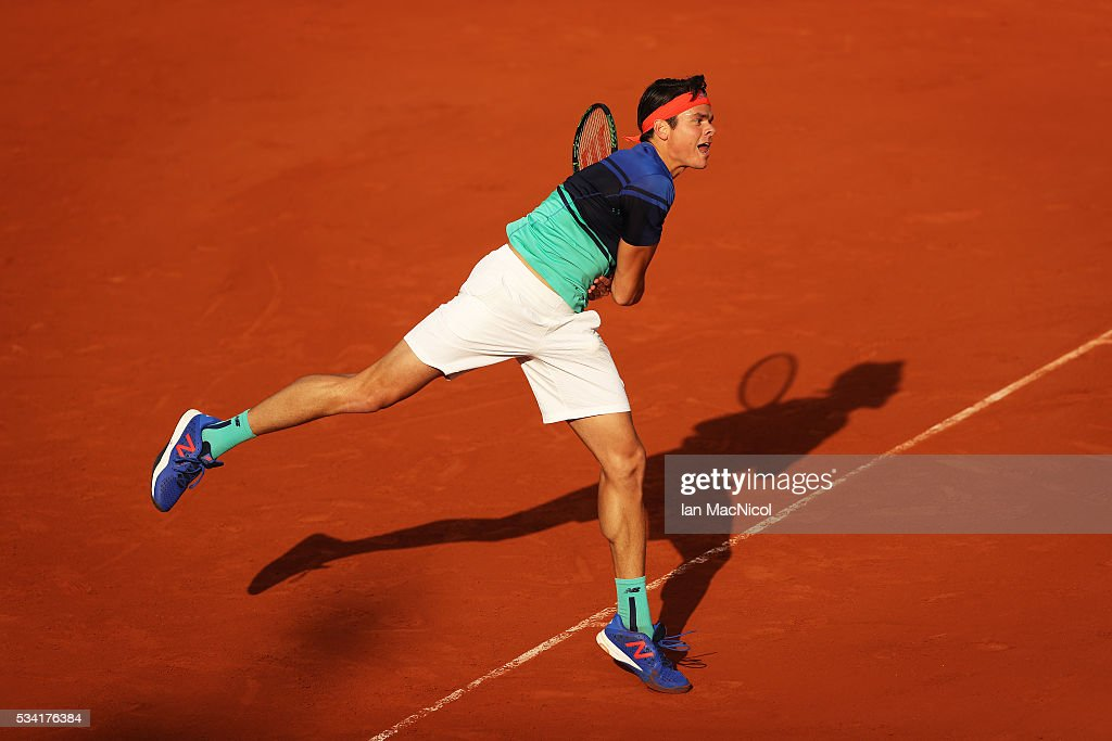 <a gi-track='captionPersonalityLinkClicked' href=/galleries/search?phrase=Milos+Raonic&family=editorial&specificpeople=5421226 ng-click='$event.stopPropagation()'>Milos Raonic</a> of Canada plays a shot during the Men's Singles Second Round match against Adrian Mannarino of France on Day Four of the 2016 French Open at Roland Garros on May 25, 2016 in Paris, France.