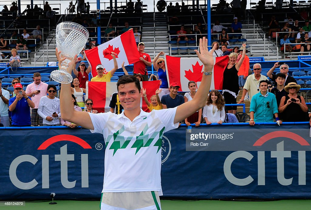 <a gi-track='captionPersonalityLinkClicked' href=/galleries/search?phrase=Milos+Raonic&family=editorial&specificpeople=5421226 ng-click='$event.stopPropagation()'>Milos Raonic</a> of Canada poses with the trophy after defeating Vasek Pospisil of Canada during the mens final of the Citi Open at the William H.G. FitzGerald Tennis Center on August 3, 2014 in Washington, DC.