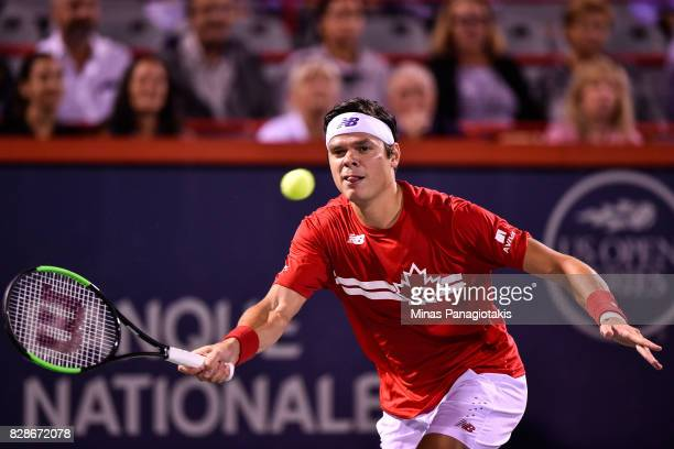 Milos Raonic of Canada prepares to return the ball against Adrian Mannarino of France during day six of the Rogers Cup presented by National Bank at...