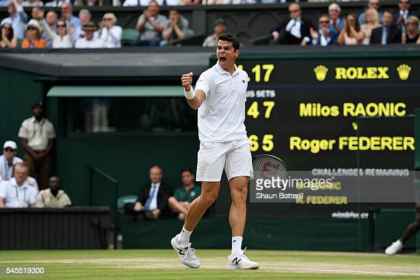 Milos Raonic of Canada reacts during the Men's Singles Semi Final match against Roger Federer of Switzerland on day eleven of the Wimbledon Lawn...