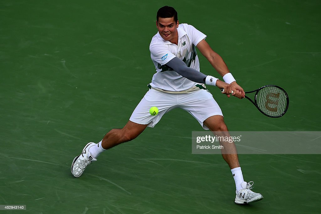 <a gi-track='captionPersonalityLinkClicked' href=/galleries/search?phrase=Milos+Raonic&family=editorial&specificpeople=5421226 ng-click='$event.stopPropagation()'>Milos Raonic</a> of Canada returns shot to Jack Sock of the United States during Day 3 of the Citi Open at the William H.G. FitzGerald Tennis Center on July 30, 2014 in Washington, DC.