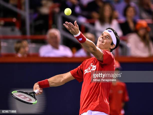 Milos Raonic of Canada serves against Adrian Mannarino of France during day six of the Rogers Cup presented by National Bank at Uniprix Stadium on...