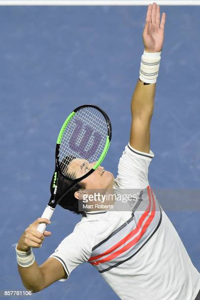 Milos Raonic of Canada serves against Yuichi Sugita of Japan during day four of the Rakuten Open at Ariake Coliseum on October 5 2017 in Tokyo Japan