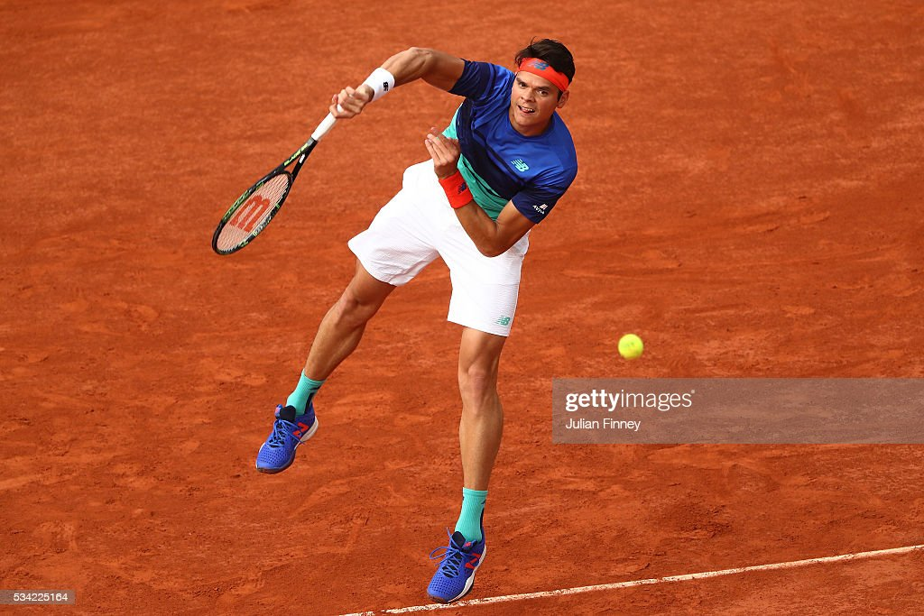 <a gi-track='captionPersonalityLinkClicked' href=/galleries/search?phrase=Milos+Raonic&family=editorial&specificpeople=5421226 ng-click='$event.stopPropagation()'>Milos Raonic</a> of Canada serves during the Men's Singles second round match against Adrian Mannarino of France on day four of the 2016 French Open at Roland Garros on May 25, 2016 in Paris, France.