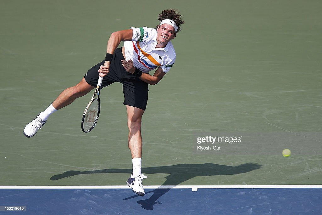 <a gi-track='captionPersonalityLinkClicked' href=/galleries/search?phrase=Milos+Raonic&family=editorial&specificpeople=5421226 ng-click='$event.stopPropagation()'>Milos Raonic</a> of Canada serves in his first round match against Radek Stepanek of the Czech Republic during day two of the Rakuten Open at Ariake Colosseum on October 2, 2012 in Tokyo, Japan.