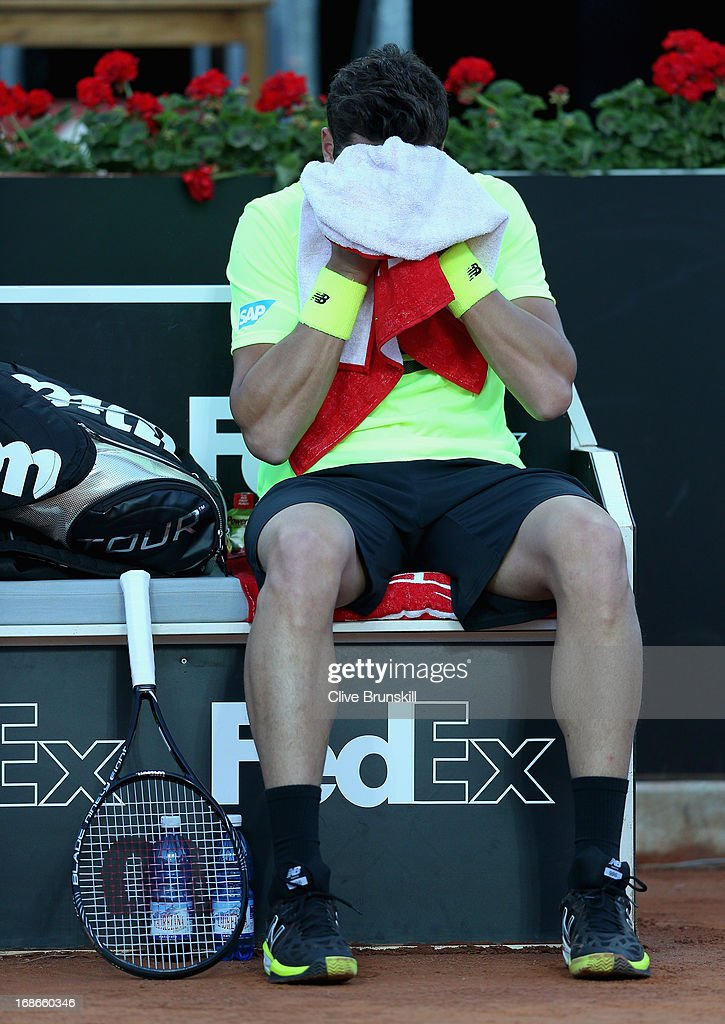 Milos Raonic of Canada shows his frustration at the change of ends against Philipp Kohlschreiber of Germany in their first round match during day two of the Internazionali BNL d'Italia 2013 at the Foro Italico Tennis Centre on May 13, 2013 in Rome, Italy.