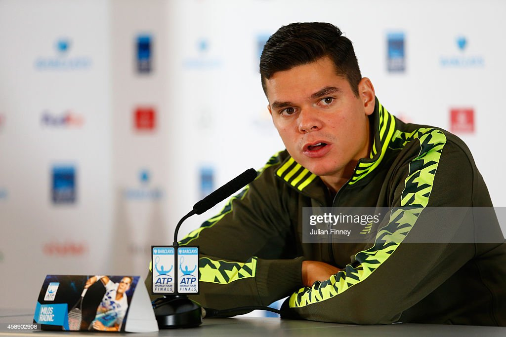 Milos Raonic of Canada speaks at a press conference after pulling out of the tournament with an injury on day five of the Barclays ATP World Tour Finals at O2 Arena on November 13, 2014 in London, England.