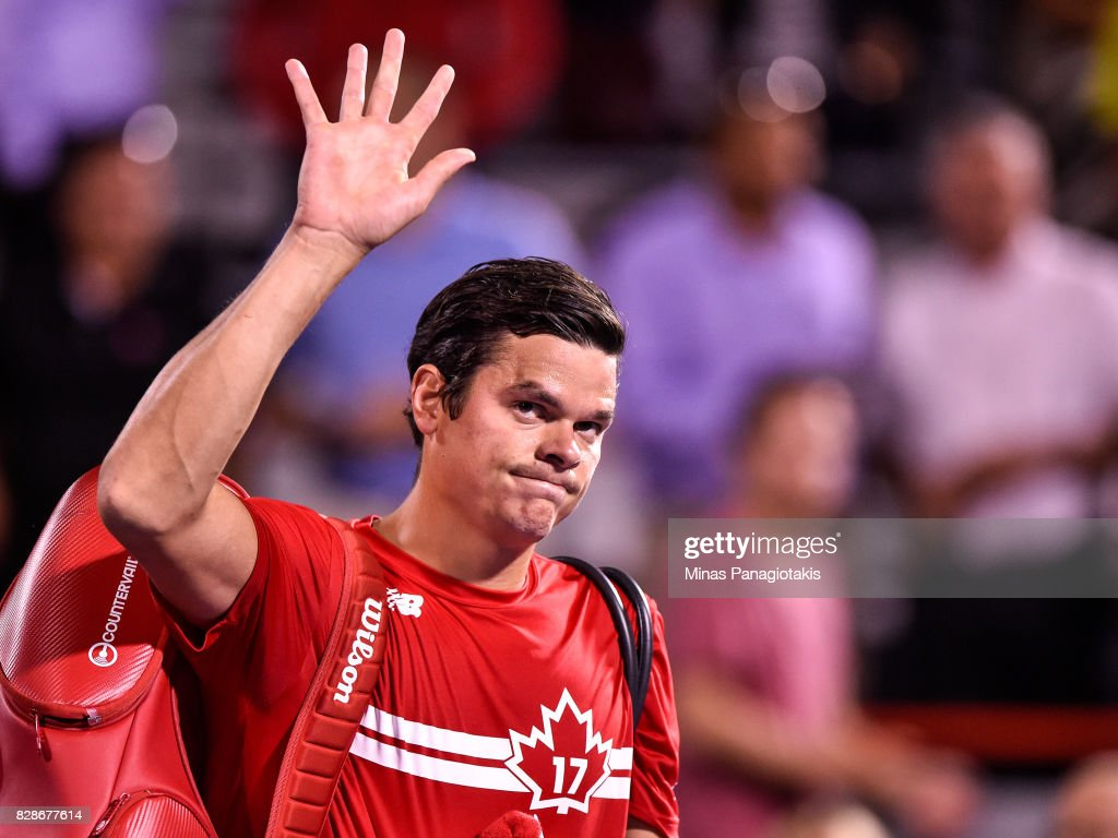 Milos Raonic of Canada walks off the court after his defeat against Adrian Mannarino of France during day six of the Rogers Cup presented by National Bank at Uniprix Stadium on August 9, 2017 in Montreal, Quebec, Canada. Adrian Mannarino of France defeated Milos Raonic of Canada 6-4, 6-4.