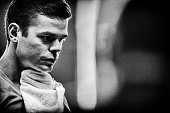 Milos Raonic of Canada walks to his bench between games against Jack Sock of the USA during day 3 of the BNP Paribas Masters held at the at Palais...