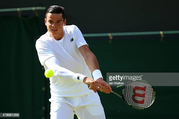 Milos Raonic of Cananda in action in his Gentlemen's Singles first round match against Daniel GimenoTraver of Spain during day one of the Wimbledon...