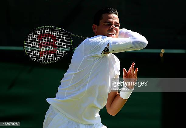 Milos Raonic of Cananda plays a forehand in his Gentlemen's Singles first round match against Daniel GimenoTraver of Spain during day one of the...