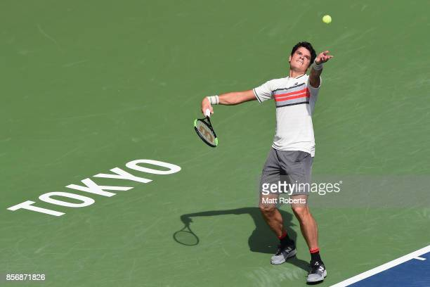 Milos Raonic serves against Viktor Troicki of Serbia during day two of the Rakuten Open at Ariake Coliseum on October 3 2017 in Tokyo Japan