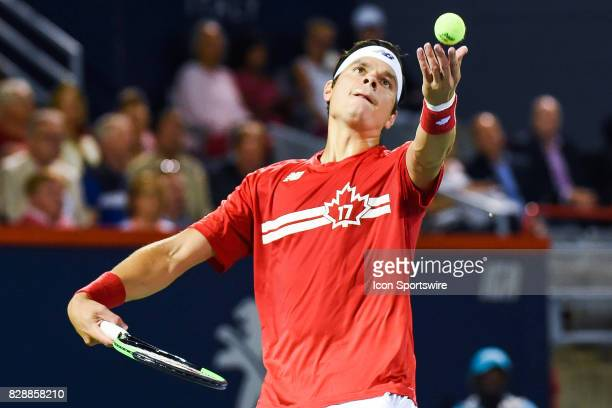 Milos Raonic serves the ball during his second round match at ATP Coupe Rogers on August 9 at Uniprix Stadium in Montreal QC