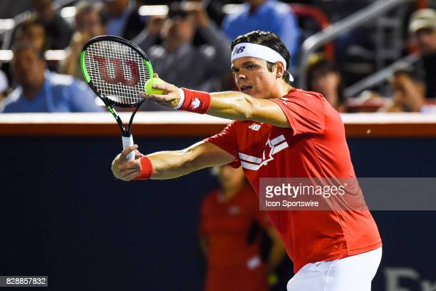 Milos Raonic serving the ball during his second round match at ATP Coupe Rogers on August 9 at Uniprix Stadium in Montreal QC