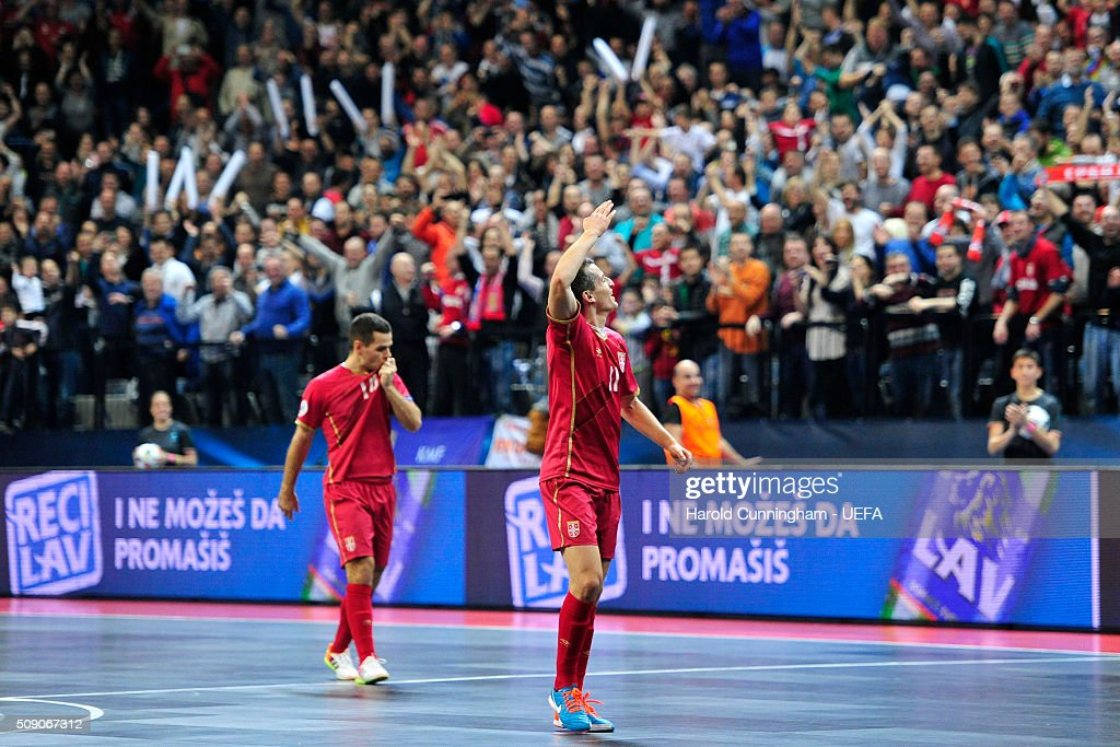 Milos Simic of Serbia celebrates scoring the second goal during the UEFA Futsal EURO 2016 quarter final match between Serbia and Ukraine at Arena Belgrade on February 8, 2016 in Belgrade, Serbia.