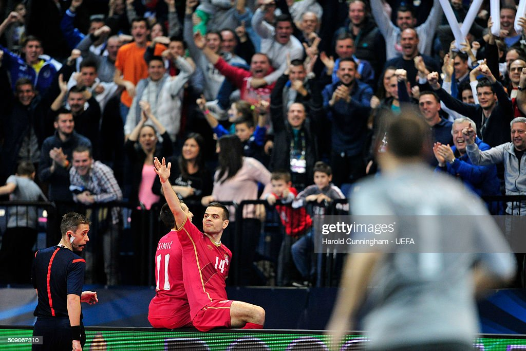 Milos Simic of Serbia celebrates with Slobodan Rajcevic of Serbia scoring the second goal during the UEFA Futsal EURO 2016 quarter final match between Serbia and Ukraine at Arena Belgrade on February 8, 2016 in Belgrade, Serbia.