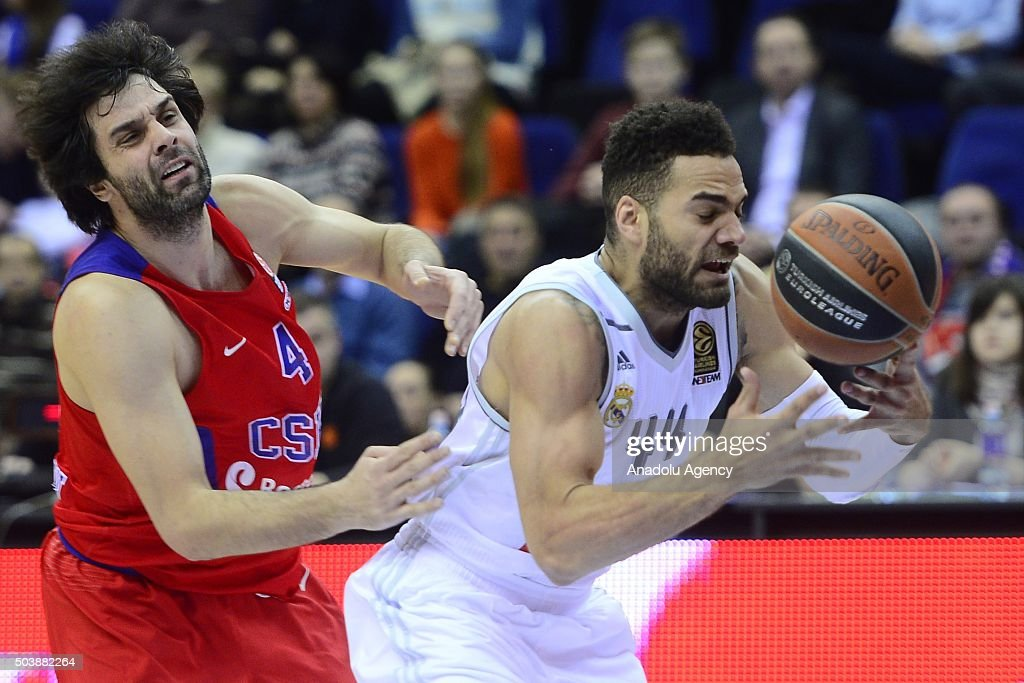 Milos Teodosi of CSKA Moscow vies with Jeffery Taylor of Real Madrid during the Turkish Airlines Euroleague Top 16 match between CSKA Moscow and Real...