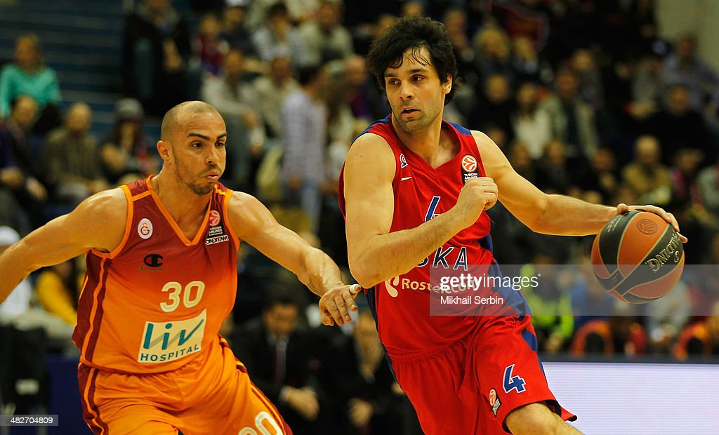 <a gi-track='captionPersonalityLinkClicked' href=/galleries/search?phrase=Milos+Teodosic&family=editorial&specificpeople=4453210 ng-click='$event.stopPropagation()'>Milos Teodosic</a>, #4 of CSKA Moscow competes with <a gi-track='captionPersonalityLinkClicked' href=/galleries/search?phrase=Carlos+Arroyo&family=editorial&specificpeople=201991 ng-click='$event.stopPropagation()'>Carlos Arroyo</a>, #30 of Galatasaray Liv Hospital Istanbul during the 2013-2014 Turkish Airlines Euroleague Top 16 Date 13 game between CSKA Moscow v Galatasaray Liv Hospital Istanbul at USH CSKA on April 4, 2014 in Moscow, Russia.