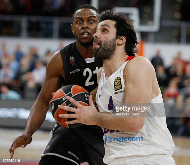 Milos Teodosic #4 of CSKA Moscow competes with Darius Miller #21 of Brose Bamberg in action during the 2016/2017 Turkish Airlines EuroLeague Regular...