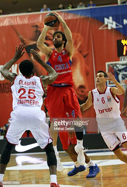 Milos Teodosic #4 of CSKA Moscow competes with Gabe Olaseni #25 and Nikos Zisis #6 of Brose Baskets Bamberg in action during the Turkish Airlines...