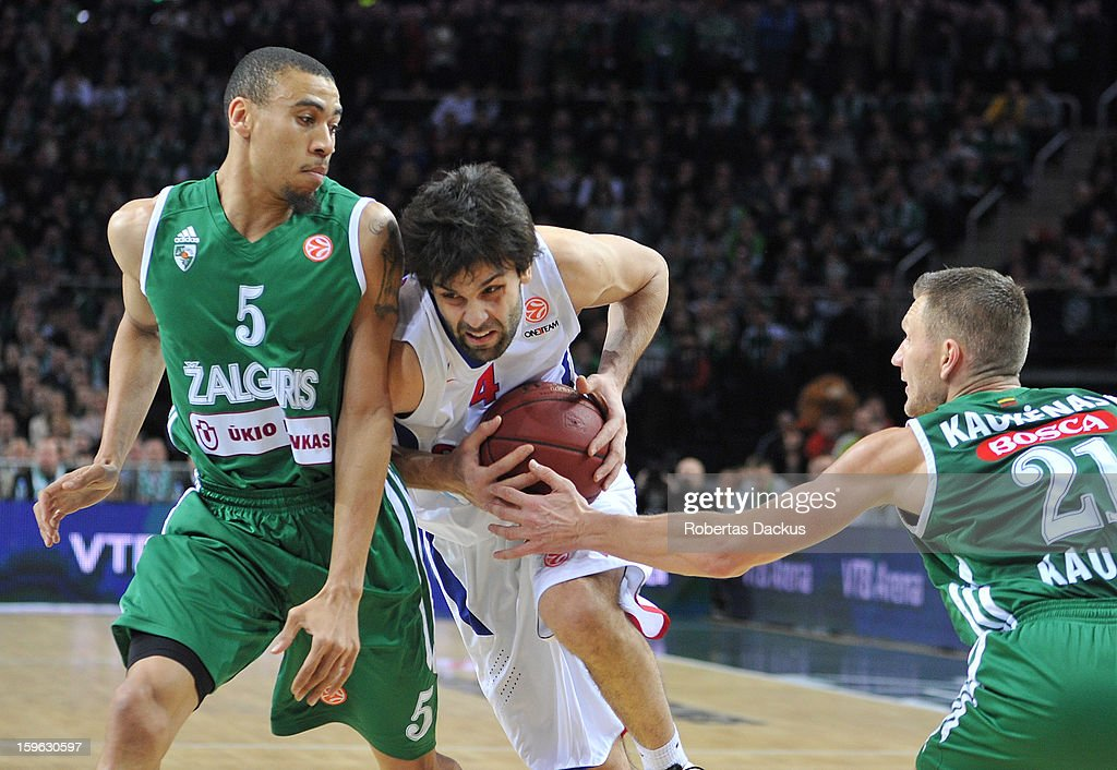 <a gi-track='captionPersonalityLinkClicked' href=/galleries/search?phrase=Milos+Teodosic&family=editorial&specificpeople=4453210 ng-click='$event.stopPropagation()'>Milos Teodosic</a>, #4 of CSKA Moscow competes with Ibrahim Jaaber, #5 of Zalgiris Kaunas in action during the 2012-2013 Turkish Airlines Euroleague Top 16 Date 4 between Zalgiris Kaunas v CSKA Moscow at Zalgiris Arena on January 17, 2013 in Kaunas, Lithuania.