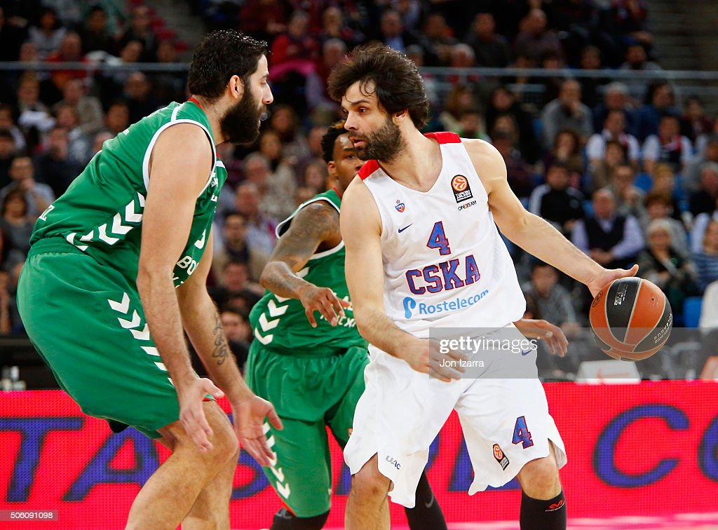 Milos Teodosic #4 of CSKA Moscow competes with Ioannis Bourousis #9 of Laboral Kutxa Vitoria Gasteiz during the Turkish Airlines Euroleague...