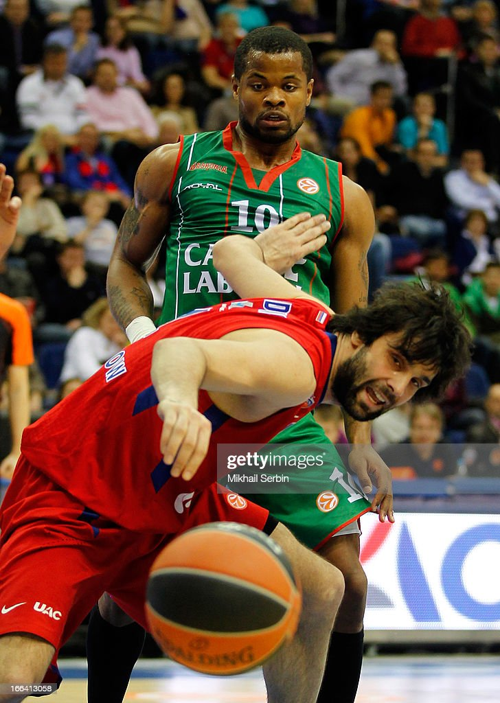 <a gi-track='captionPersonalityLinkClicked' href=/galleries/search?phrase=Milos+Teodosic&family=editorial&specificpeople=4453210 ng-click='$event.stopPropagation()'>Milos Teodosic</a>, #4 of CSKA Moscow competes with <a gi-track='captionPersonalityLinkClicked' href=/galleries/search?phrase=Omar+Cook&family=editorial&specificpeople=206165 ng-click='$event.stopPropagation()'>Omar Cook</a>, #00 of Caja Laboral Vitoria in action during the Turkish Airlines Euroleague 2012-2013 Play Offs game 2 between CSKA Moscow v Caja Laboral Vitoria at A. Gomelsky Universal Sports Hall on April 12, 2013 in Moscow, Russia.