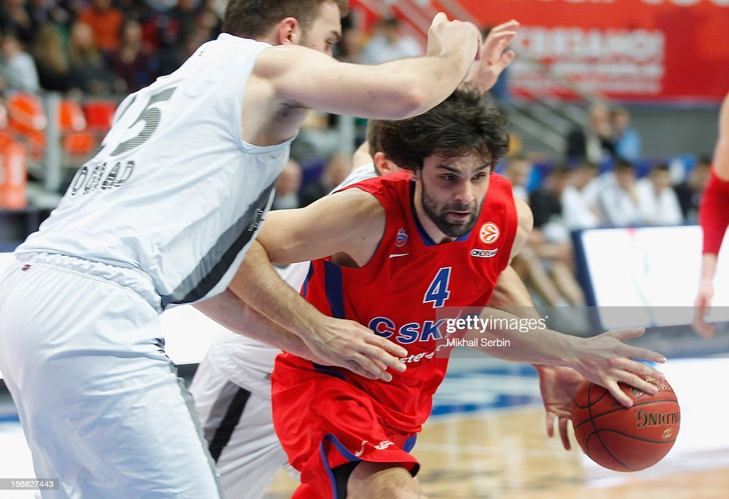 <a gi-track='captionPersonalityLinkClicked' href=/galleries/search?phrase=Milos+Teodosic&family=editorial&specificpeople=4453210 ng-click='$event.stopPropagation()'>Milos Teodosic</a>, #4 of CSKA Moscow in action during the 2012-2013 Turkish Airlines Euroleague Regular Season Game Day 7 between CSKA Moscow v Partizan mt:s Belgrade at Megasport Sports Palace on November 22, 2012 in Moscow, Russia.
