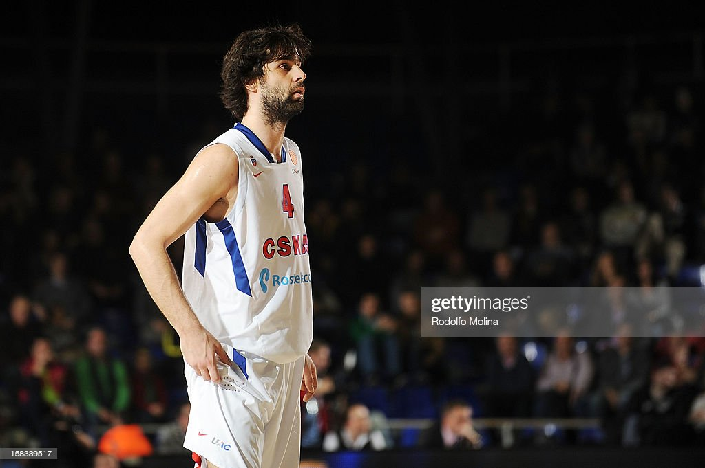 Milos Teodosic, #4 of CSKA Moscow in action during the 2012-2013 Turkish Airlines Euroleague Regular Season Game Day 10 between FC Barcelona Regal v CSKA Moscow at Palau Blaugrana on December 13, 2012 in Barcelona, Spain.