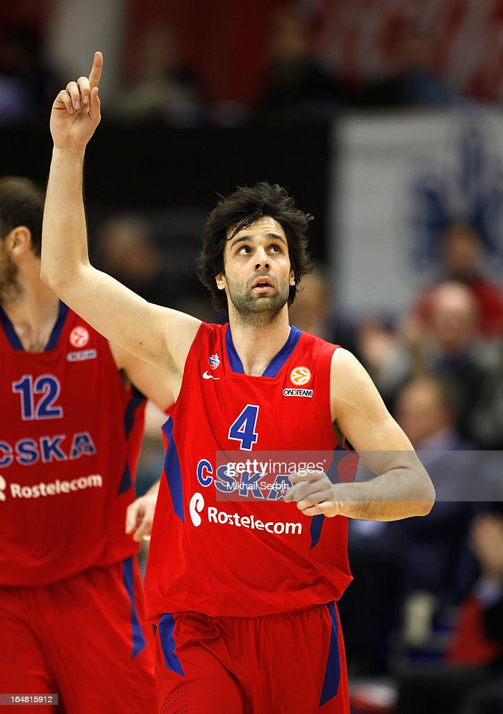 <a gi-track='captionPersonalityLinkClicked' href=/galleries/search?phrase=Milos+Teodosic&family=editorial&specificpeople=4453210 ng-click='$event.stopPropagation()'>Milos Teodosic</a>, #4 of CSKA Moscow in action during the 2012-2013 Turkish Airlines Euroleague Top 16 Date 13 between CSKA Moscow v Real Madrid at A. Gomelsky Universal Sports Hall on March 28, 2013 in Moscow, Russia.