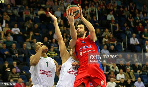 Milos Teodosic #4 of CSKA Moscow in action during the 20132014 Turkish Airlines Euroleague Top 16 Date 8 game between CSKA Moscow v Lokomotiv Kuban...