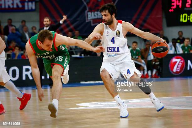 Milos Teodosic #4 of CSKA Moscow in action during the 2016/2017 Turkish Airlines EuroLeague Regular Season Round 26 game between Baskonia Vitoria...