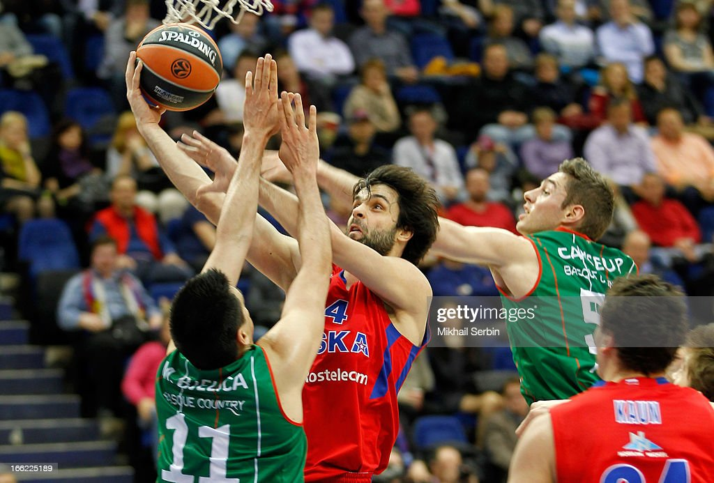 <a gi-track='captionPersonalityLinkClicked' href=/galleries/search?phrase=Milos+Teodosic&family=editorial&specificpeople=4453210 ng-click='$event.stopPropagation()'>Milos Teodosic</a>, #4 of CSKA Moscow in action during the Turkish Airlines Euroleague 2012-2013 Play Offs game 1 between CSKA Moscow v Caja Laboral Vitoria at A. Gomelsky Universal Sports Hall on April 10, 2013 in Moscow, Russia.