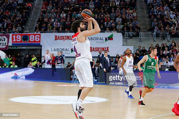 Milos Teodosic #4 of CSKA Moscow in action during the Turkish Airlines Euroleague Basketball Top 16 Round 4 game between Laboral Kutxa Vitoria...