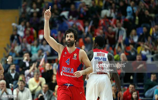 Milos Teodosic #4 of CSKA Moscow in action during the Turkish Airlines Euroleague Basketball Top 16 Round 7 game between CSKA Moscow v Olympiacos...