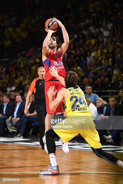 Milos Teodosic #4 of CSKA Moscow in action during the Turkish Airlines Euroleague Basketball Final Four Berlin 2016 Championship game between...