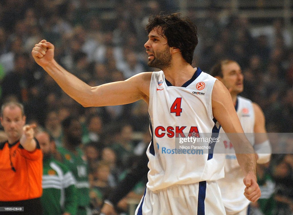 <a gi-track='captionPersonalityLinkClicked' href=/galleries/search?phrase=Milos+Teodosic&family=editorial&specificpeople=4453210 ng-click='$event.stopPropagation()'>Milos Teodosic</a>, #4 of CSKA Moscow react during the 2012-2013 Turkish Airlines Euroleague Top 16 Date 14 between Panathinaikos Athens v CSKA Moscow at OAKA on April 4, 2013 in Athens, Greece.