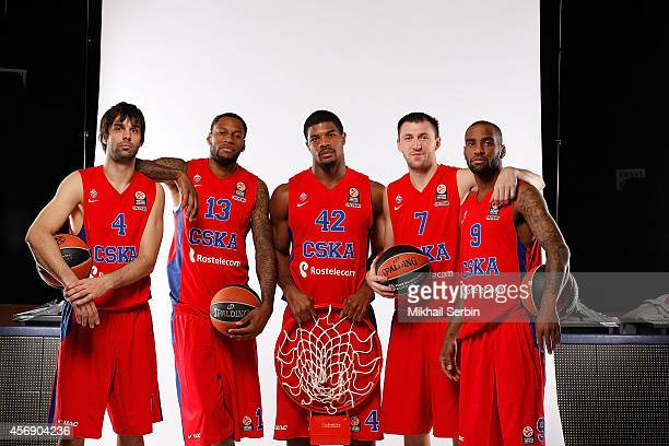 Milos Teodosic #4 Sonny Weems #13 Kyle Hines #42 Vitaly Fridzon #7 and Aaron Jackson #9 poses during the CSKA Moscow 2014/2015 Turkish Airlines...