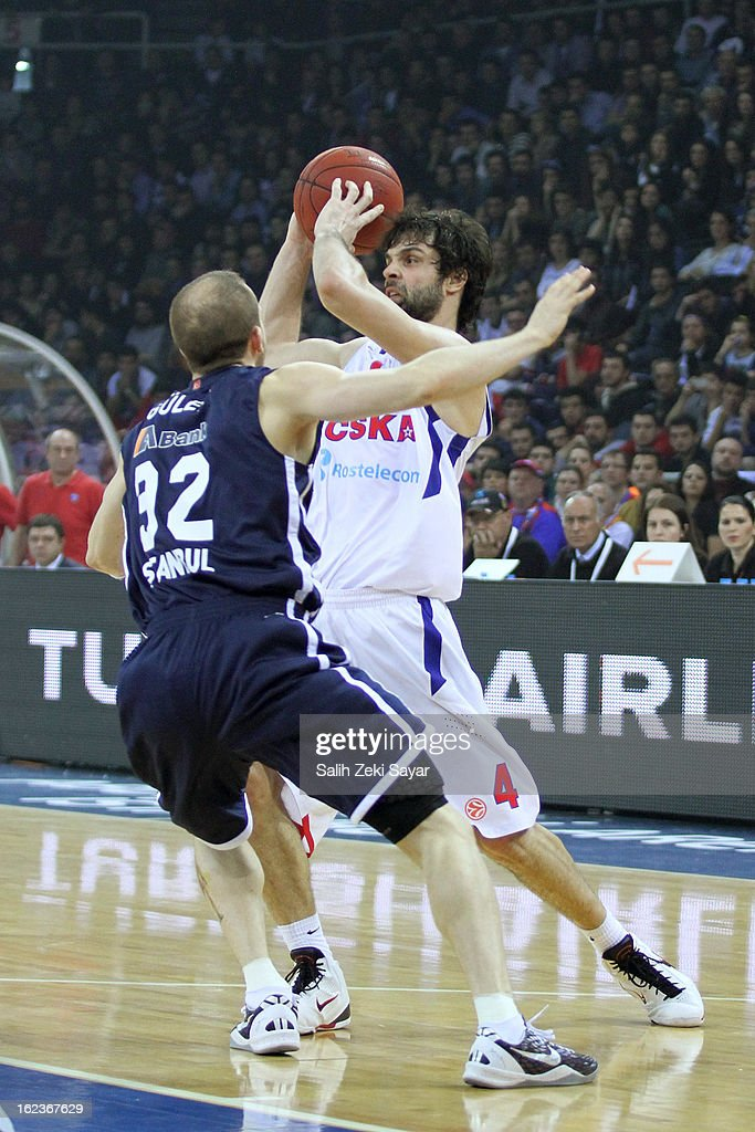 <a gi-track='captionPersonalityLinkClicked' href=/galleries/search?phrase=Milos+Teodosic&family=editorial&specificpeople=4453210 ng-click='$event.stopPropagation()'>Milos Teodosic</a> #4 of CSKA Moscow competes with Sinan Guler #32 of Anadolu Efes during the 2012-2013 Turkish Airlines Euroleague Top 16 Date 8 between Anadolu EFES Istanbul v CSKA Moscow at Abdi Ipekci Sports Arena on February 22, 2013 in Istanbul, Turkey.