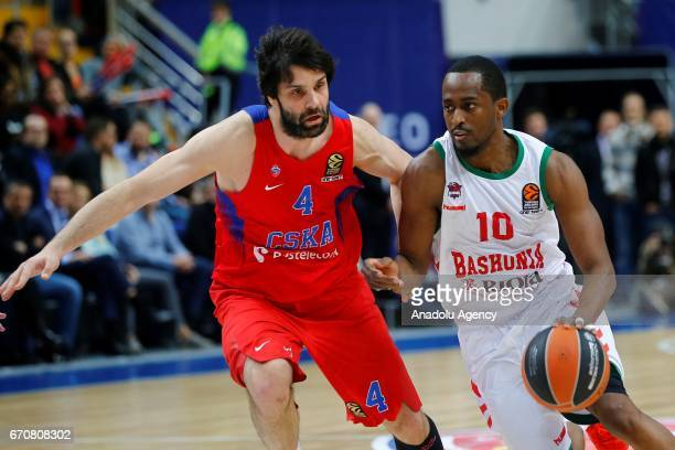 Milos Teodosic of CSKA Moscow in action against Rodrigue Beaubois of Baskonia during the Turkish Airlines EuroLeague Playoffs match between CSKA...
