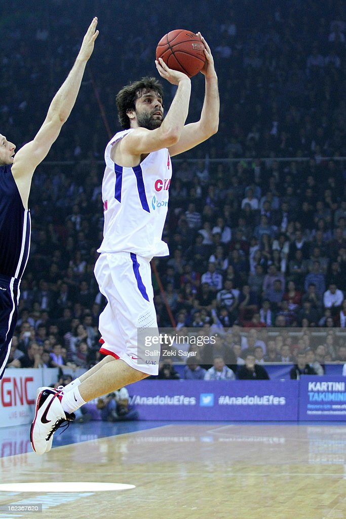<a gi-track='captionPersonalityLinkClicked' href=/galleries/search?phrase=Milos+Teodosic&family=editorial&specificpeople=4453210 ng-click='$event.stopPropagation()'>Milos Teodosic</a> #4 of CSKA Moscow in action during the 2012-2013 Turkish Airlines Euroleague Top 16 Date 8 between Anadolu EFES Istanbul v CSKA Moscow at Abdi Ipekci Sports Arena on February 22, 2013 in Istanbul, Turkey.