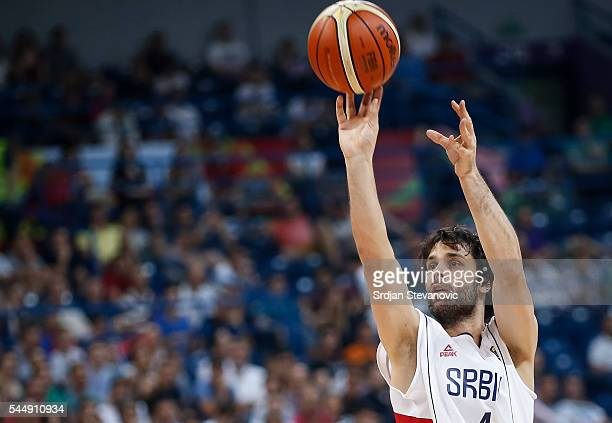 Milos Teodosic of Serbia in action during the 2016 FIBA World Olympic Qualifying basketball Group A match between Serbia and Puerto Rico at Kombank...
